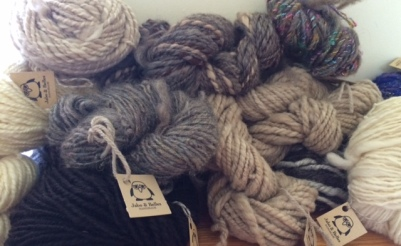 Skeins of yummy handspun yarn, all from locally sourced wool.