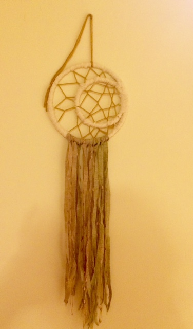 a dream catcher in progress for a friend's daughter